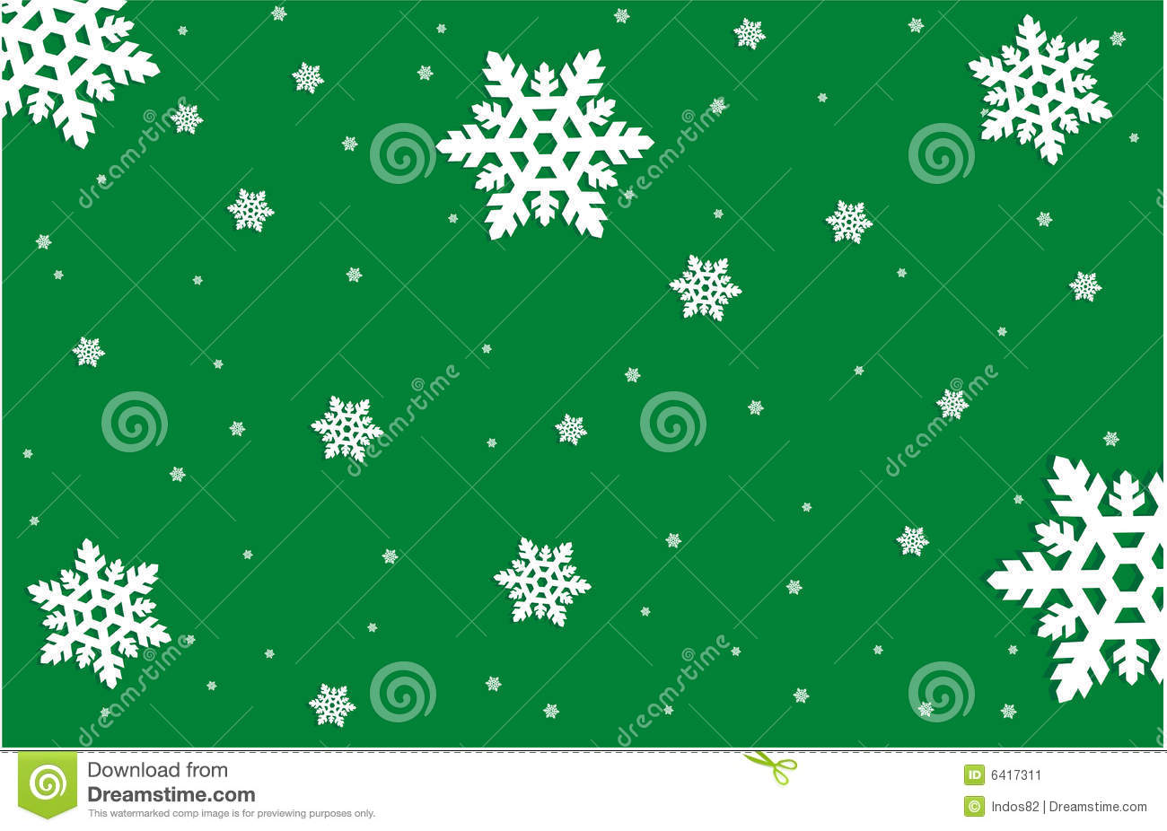 Snowflakes On Green Background Stock Vector Image 6417311