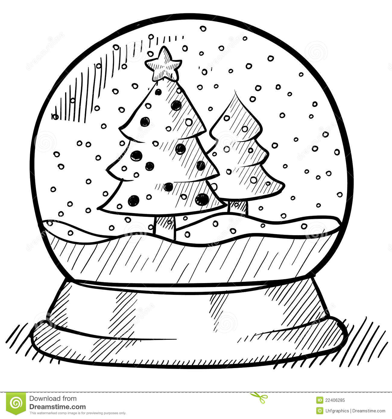 Snowglobe Drawing Stock Vector Illustration Of Tree
