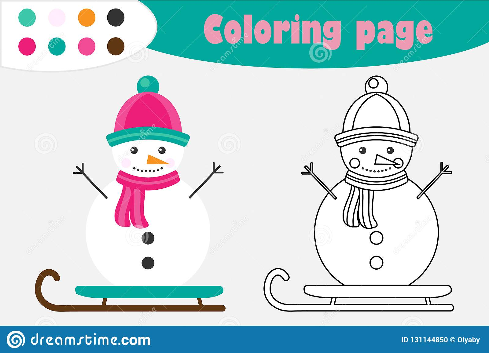 Snowman In Cartoon Style Christmas Coloring Page