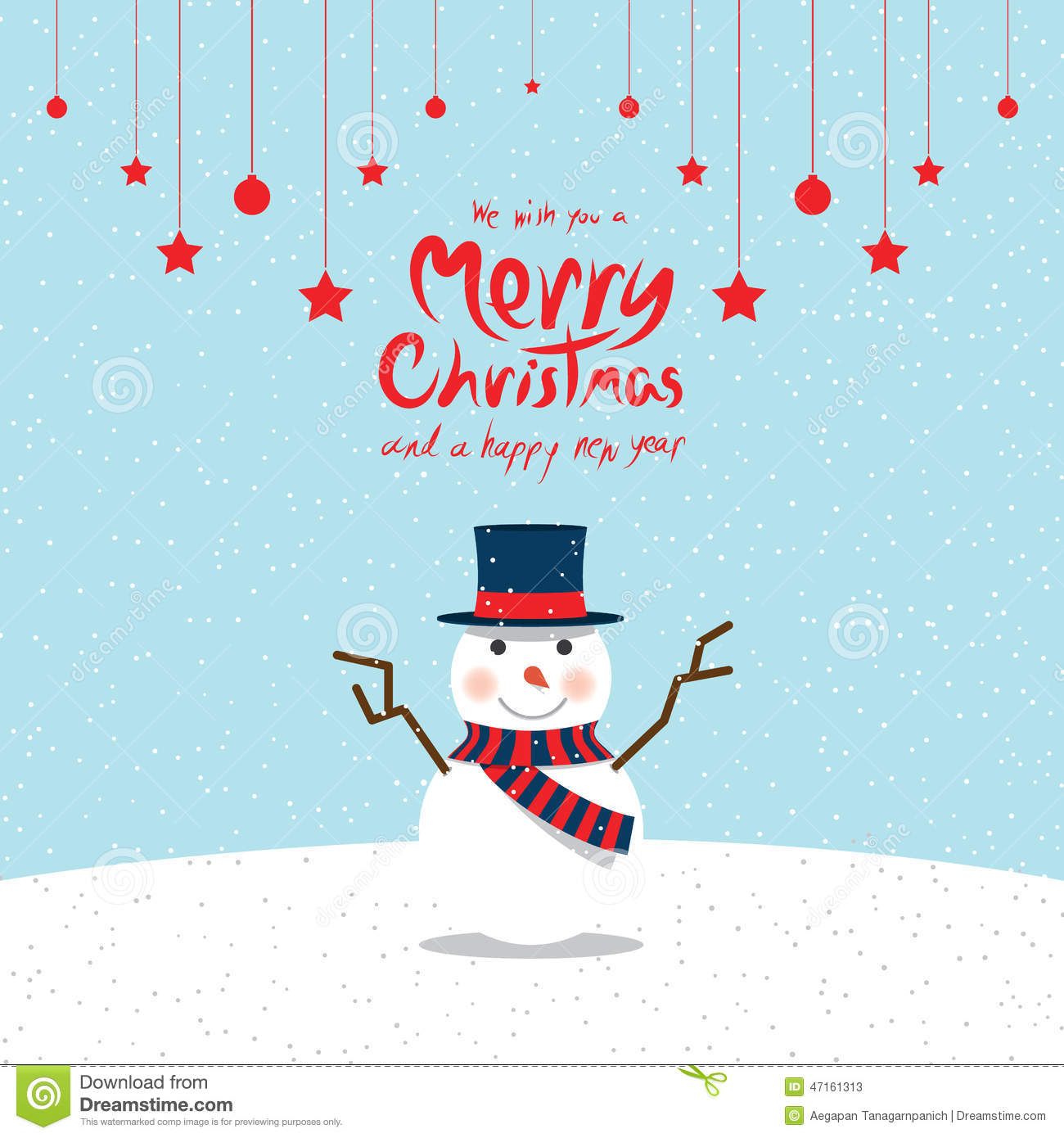 Snowman Christmas Cards Stock Vector Illustration Of