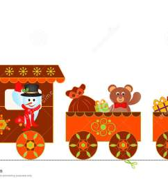 illustration of lively gingerbread train clipart snowman christmas presents polar express train  [ 1300 x 802 Pixel ]