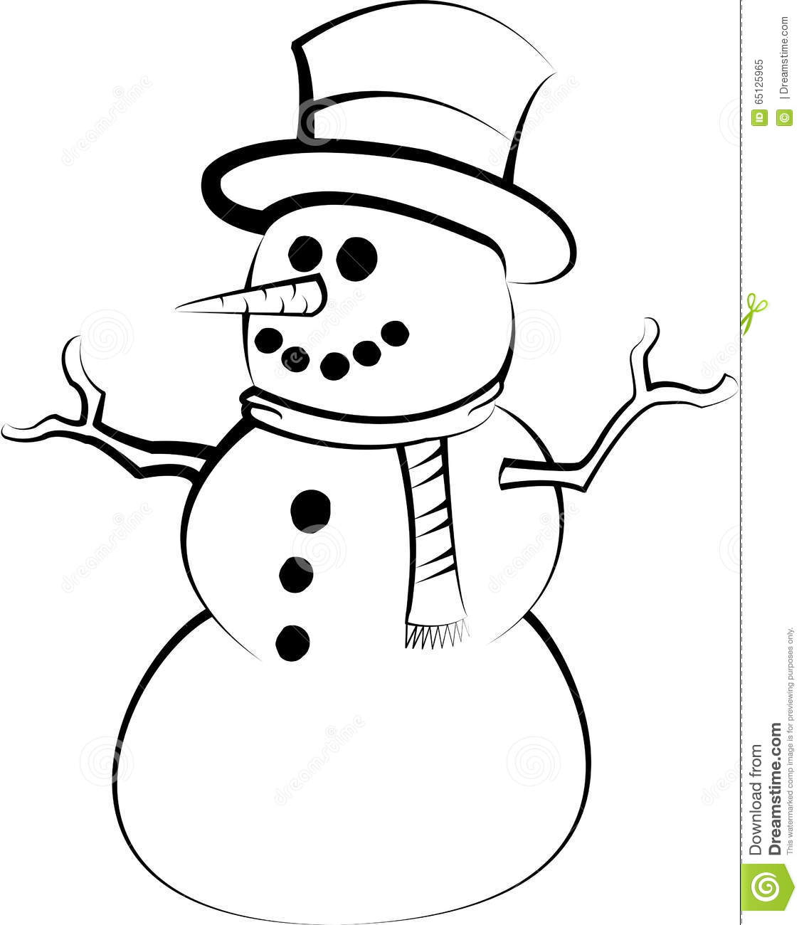 Snowman Drawing Stock Vector Illustration Of Vintage
