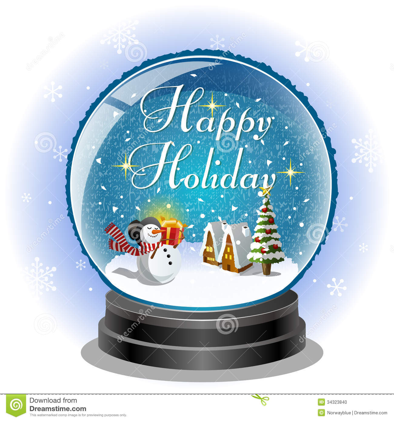 Snowman Holding A Gift Box In Snow Globe Stock Vector