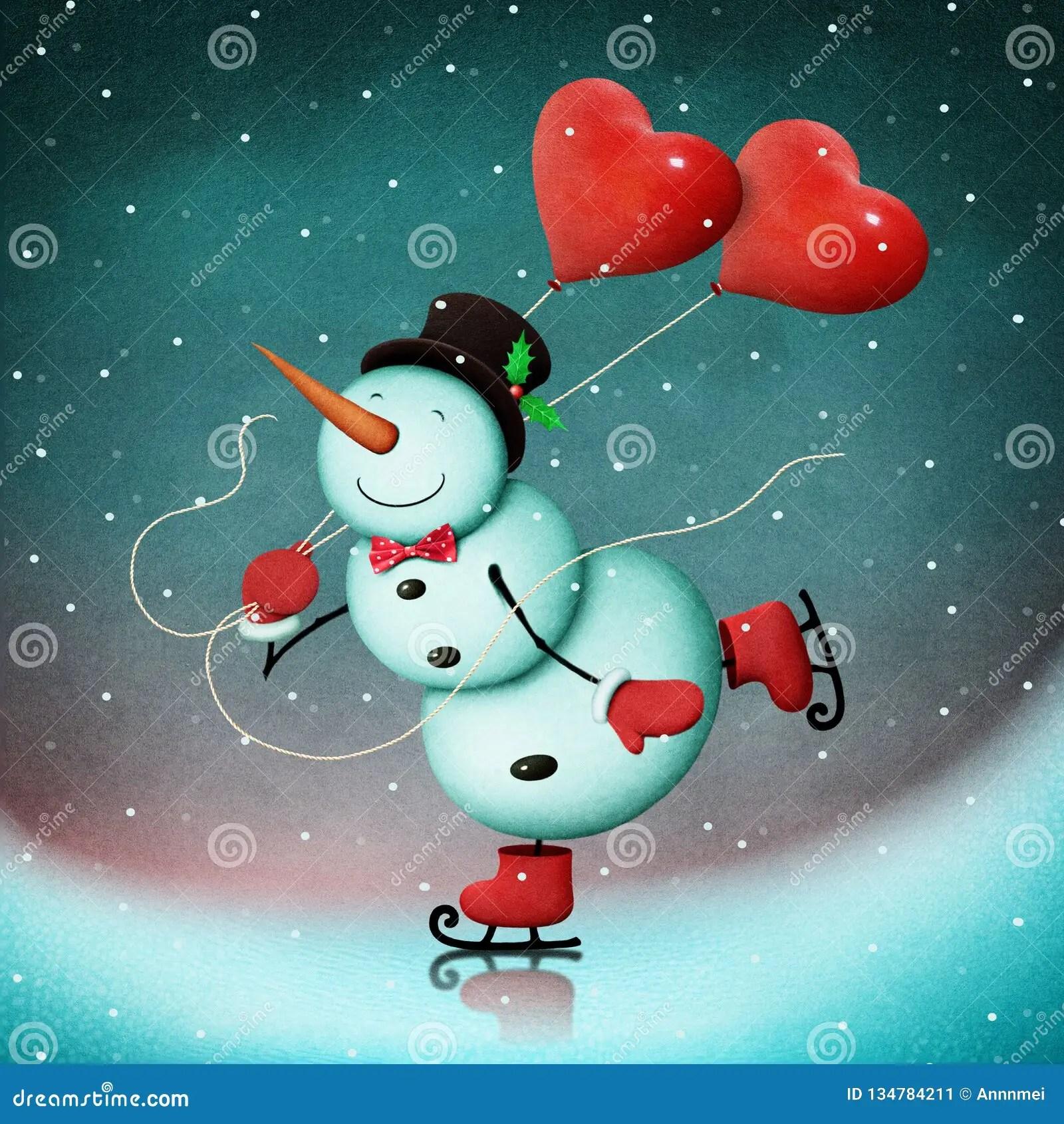 Snowman On Ice With Hearts Stock Illustration