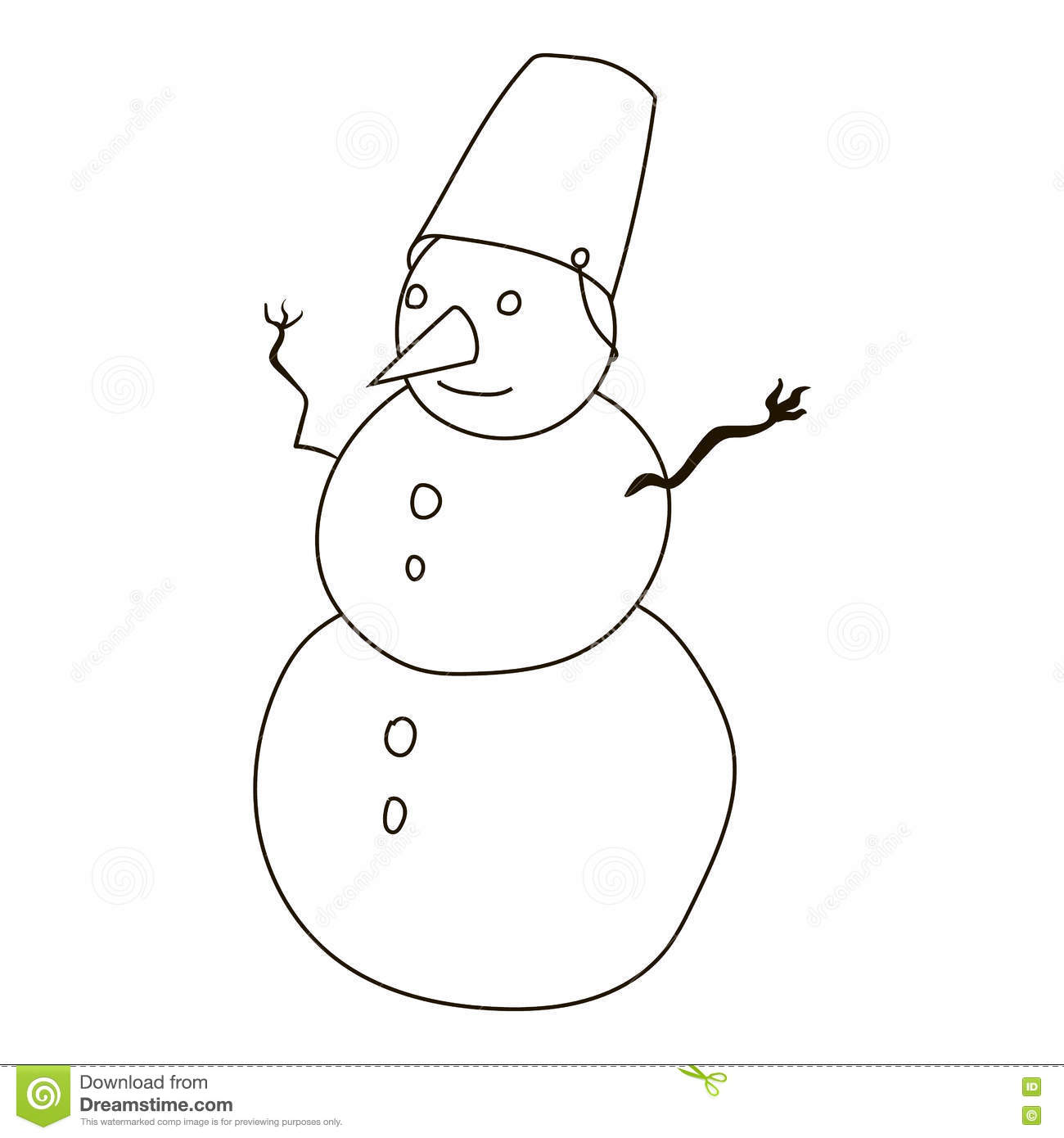 Snowman Icon Outline Style Vector Illustration