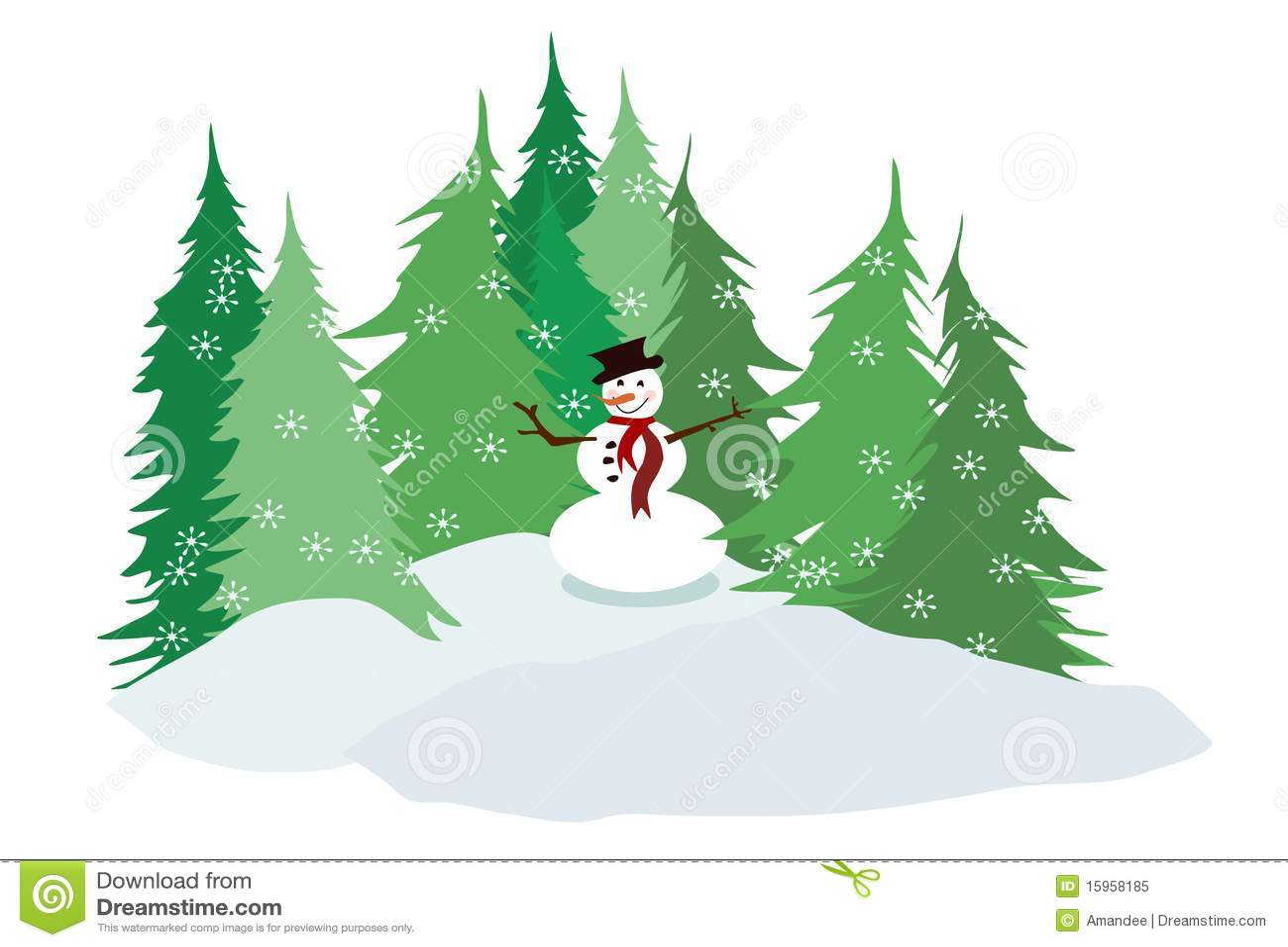 Wallpaper Falling Snow Snowman And Pine Trees Stock Illustration Illustration Of