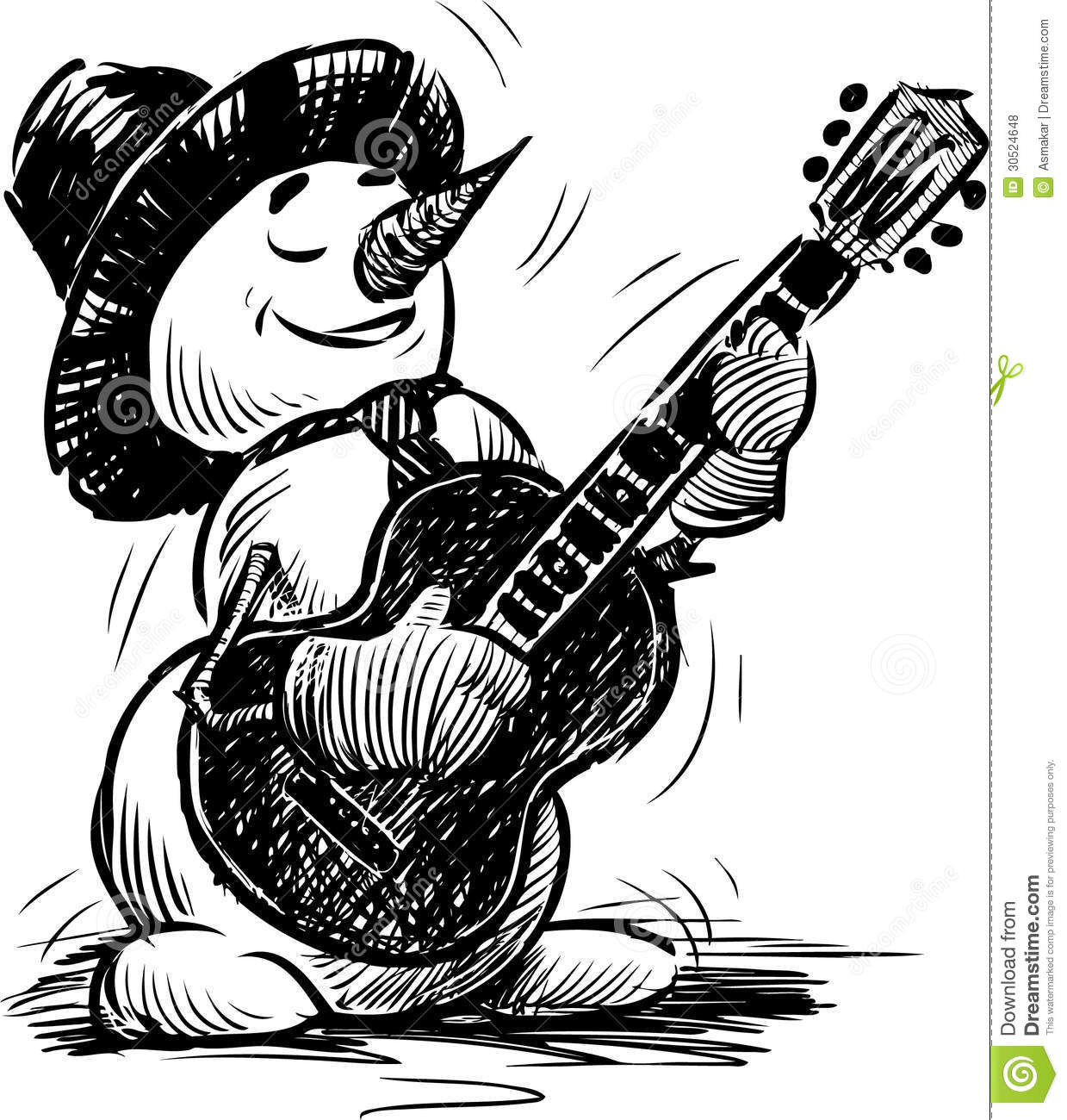 Snowman Playing The Guitar Royalty Free Stock Photos