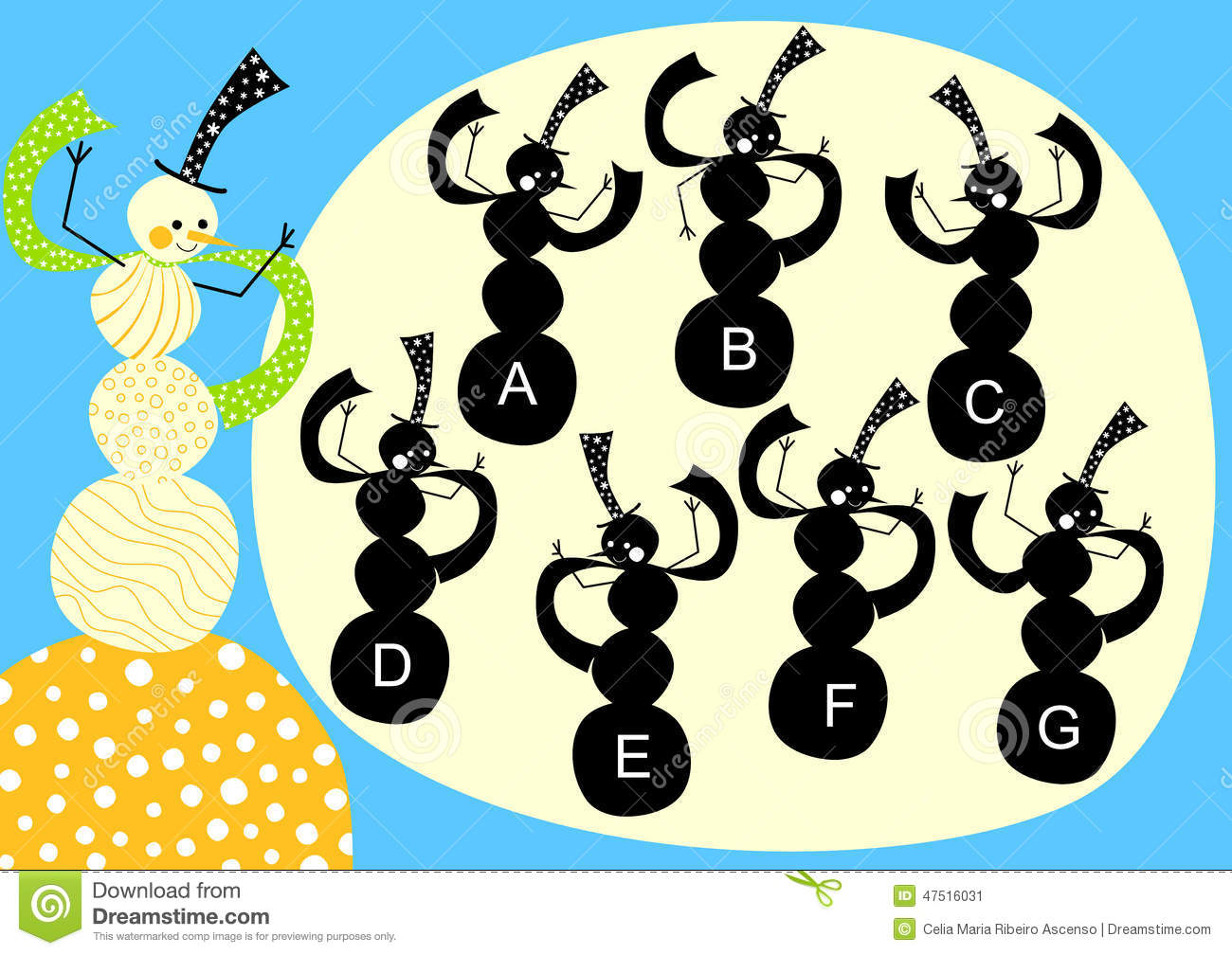 Snowman Silhouette Shape Game Stock Illustration