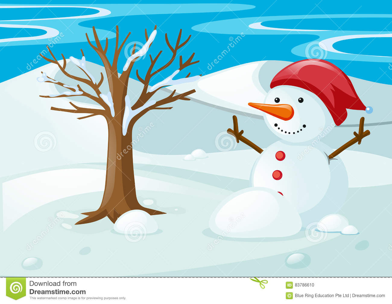 hight resolution of snowman in the snow field