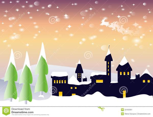 snowy landscape with santa claus