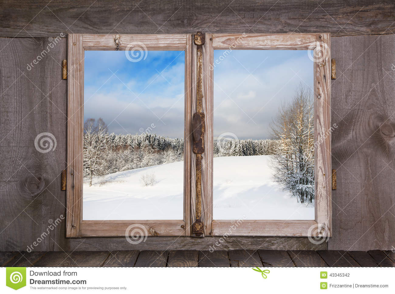 Snowy Winter Landscape View Out Of An Old Rustic Wooden