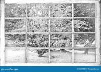 Snowy Winter Scene Through Old Beaten Window Panes Stock ...