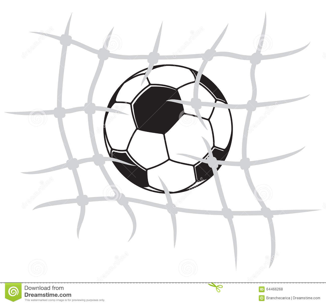 Soccer Ball Breaking Net Stock Illustration