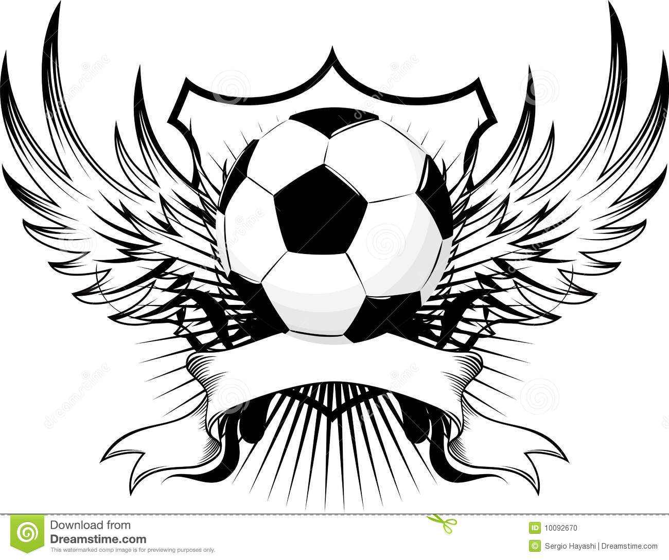 Winged Soccer Ball Emblem Cartoon Vector