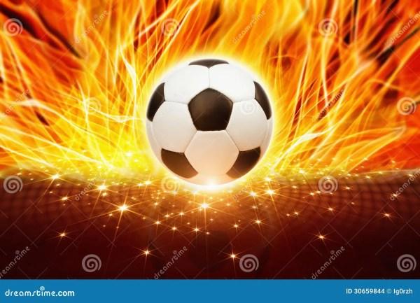 Soccer Ball In Fire Stock Of Celebration