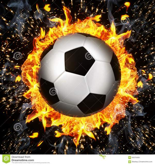 Soccer Ball In Fire Flames Stock Illustration