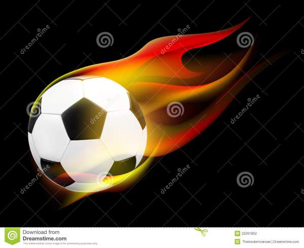 Soccer Ball With Flames Stock - 22261852