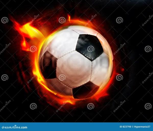Soccer Ball Flames Stock Illustration. Illustration Of