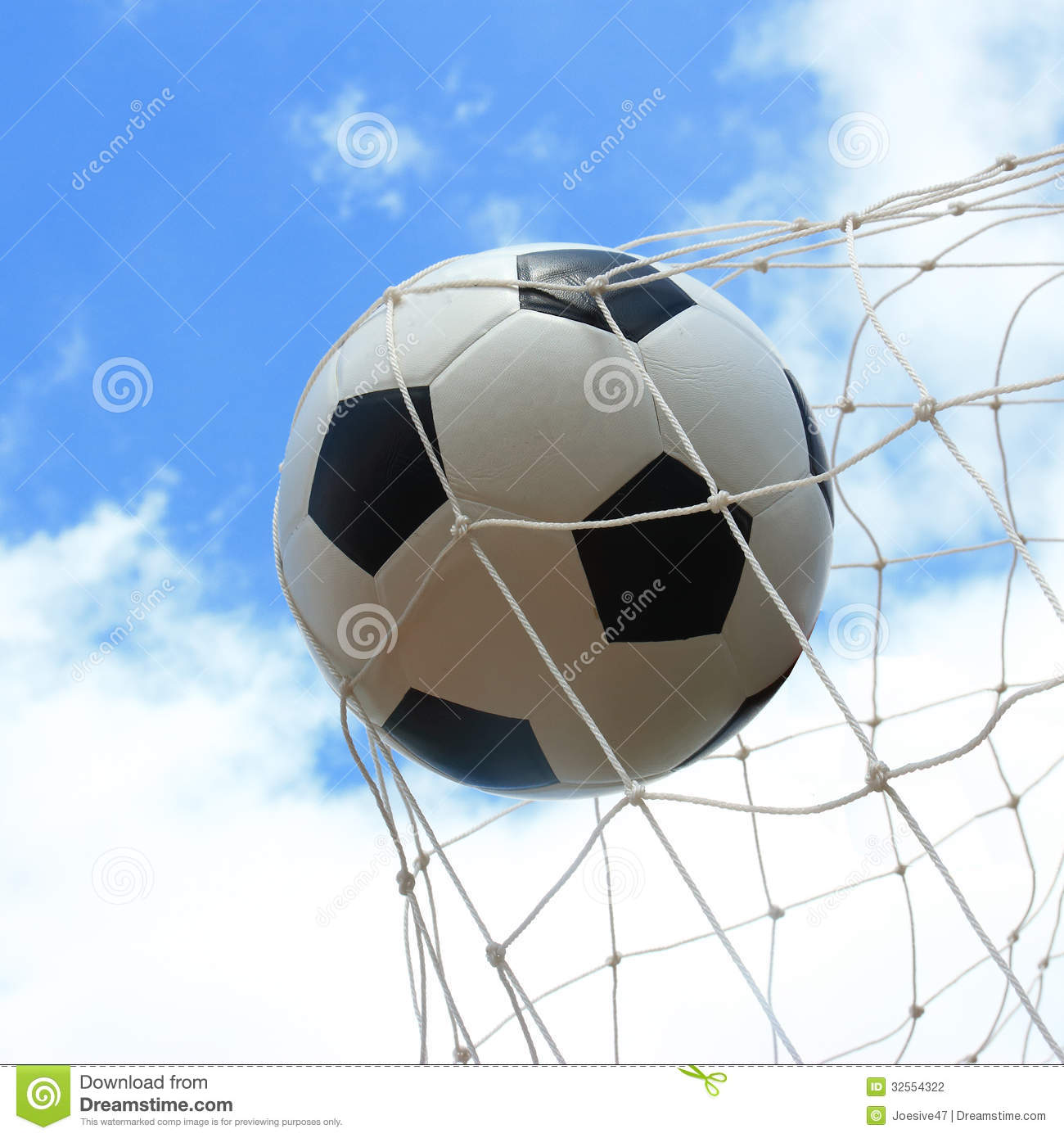 Soccer Ball In Goal Stock Photo Image Of League Kick