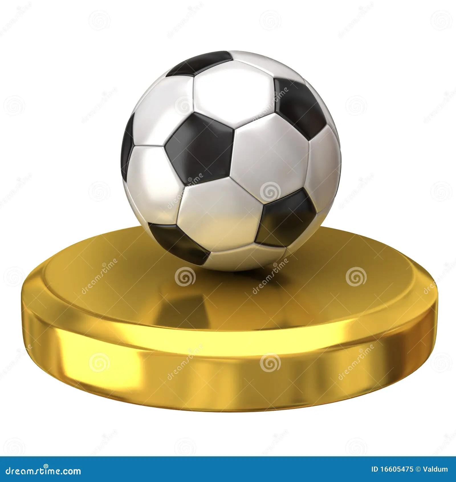 Soccer Ball On Gold Podium Royalty Free Stock Photo