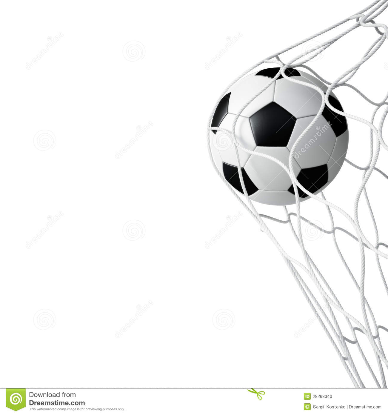 Soccer Ball In Net Isolated Stock Photo