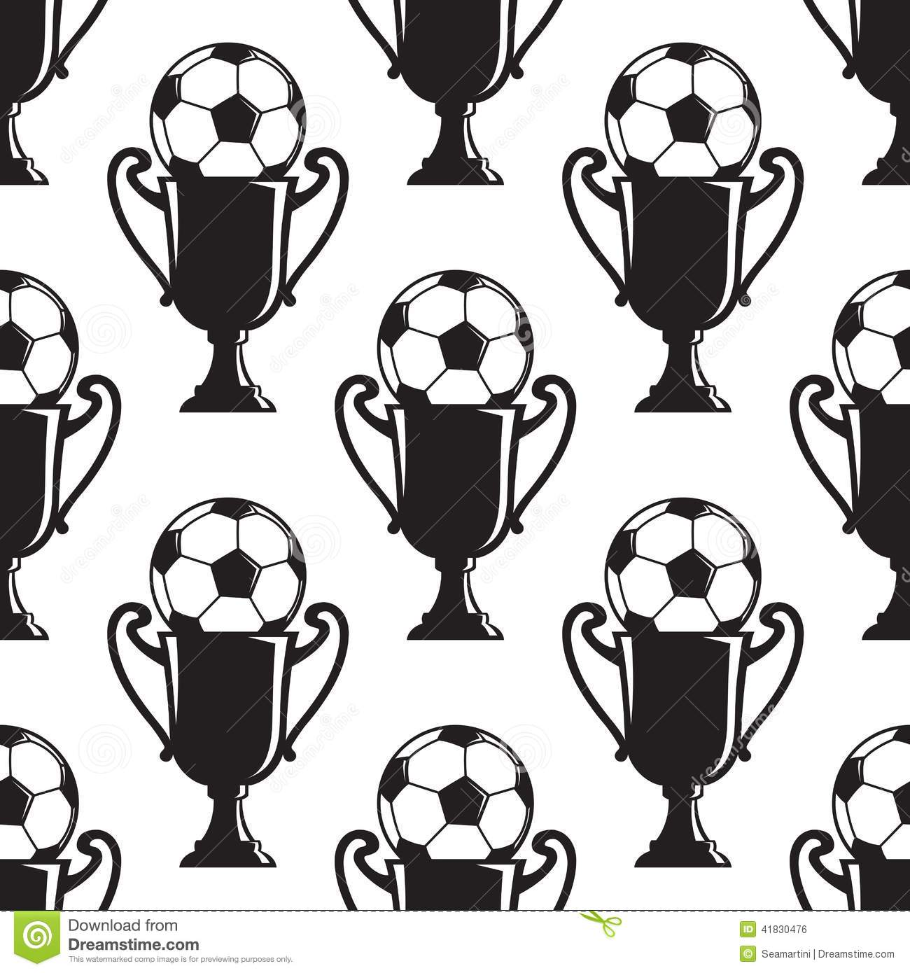 Soccer Champions Trophy Seamless Pattern Stock Vector