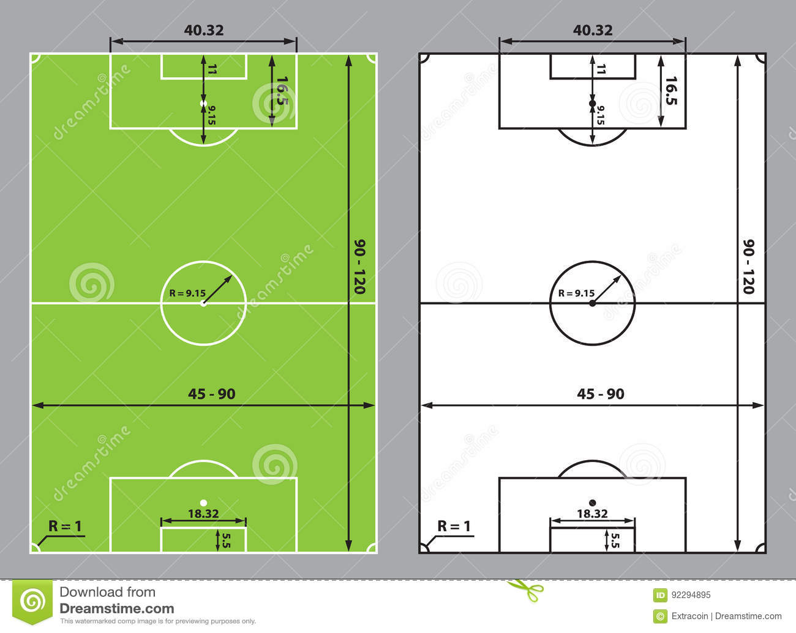 diagram of football ground with measurements molex to sata wiring field scheme cartoon vector cartoondealer
