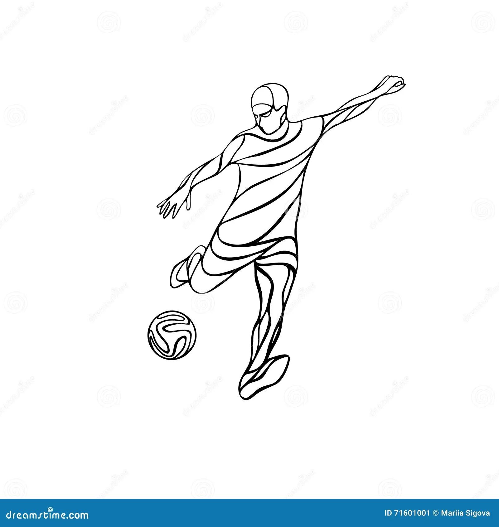 Soccer Or Football Player Kicks The Ball. Cartoon Vector