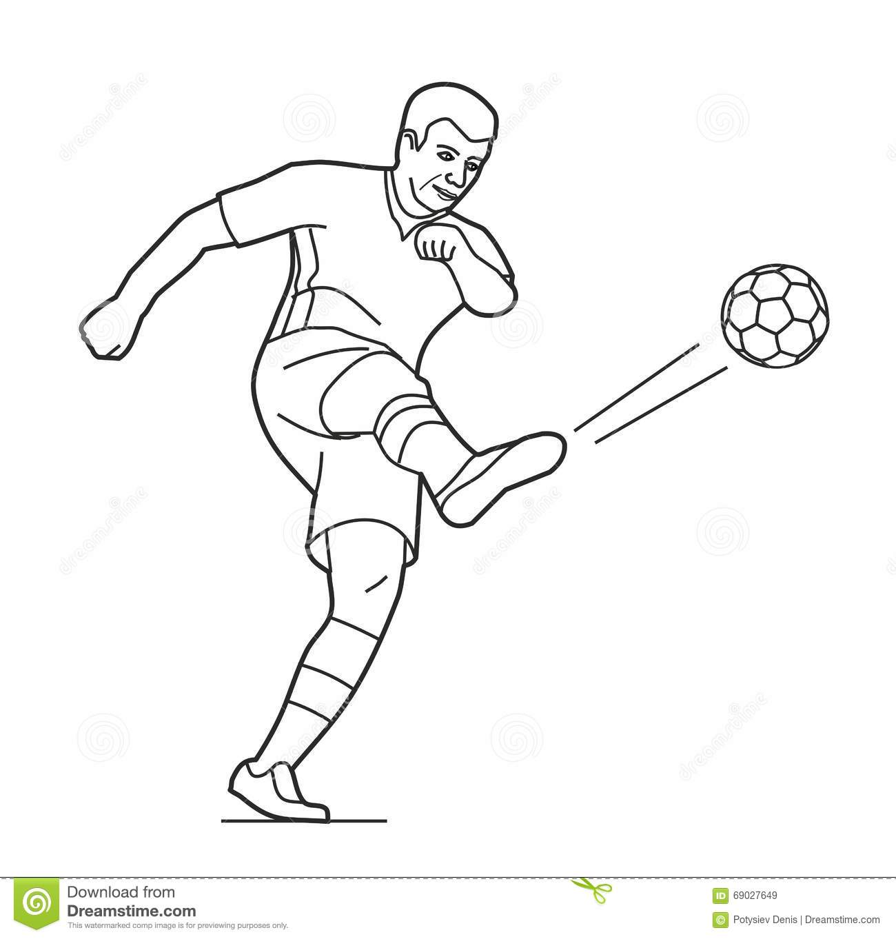 Soccer Player Man Playing Football Jumping With Ball