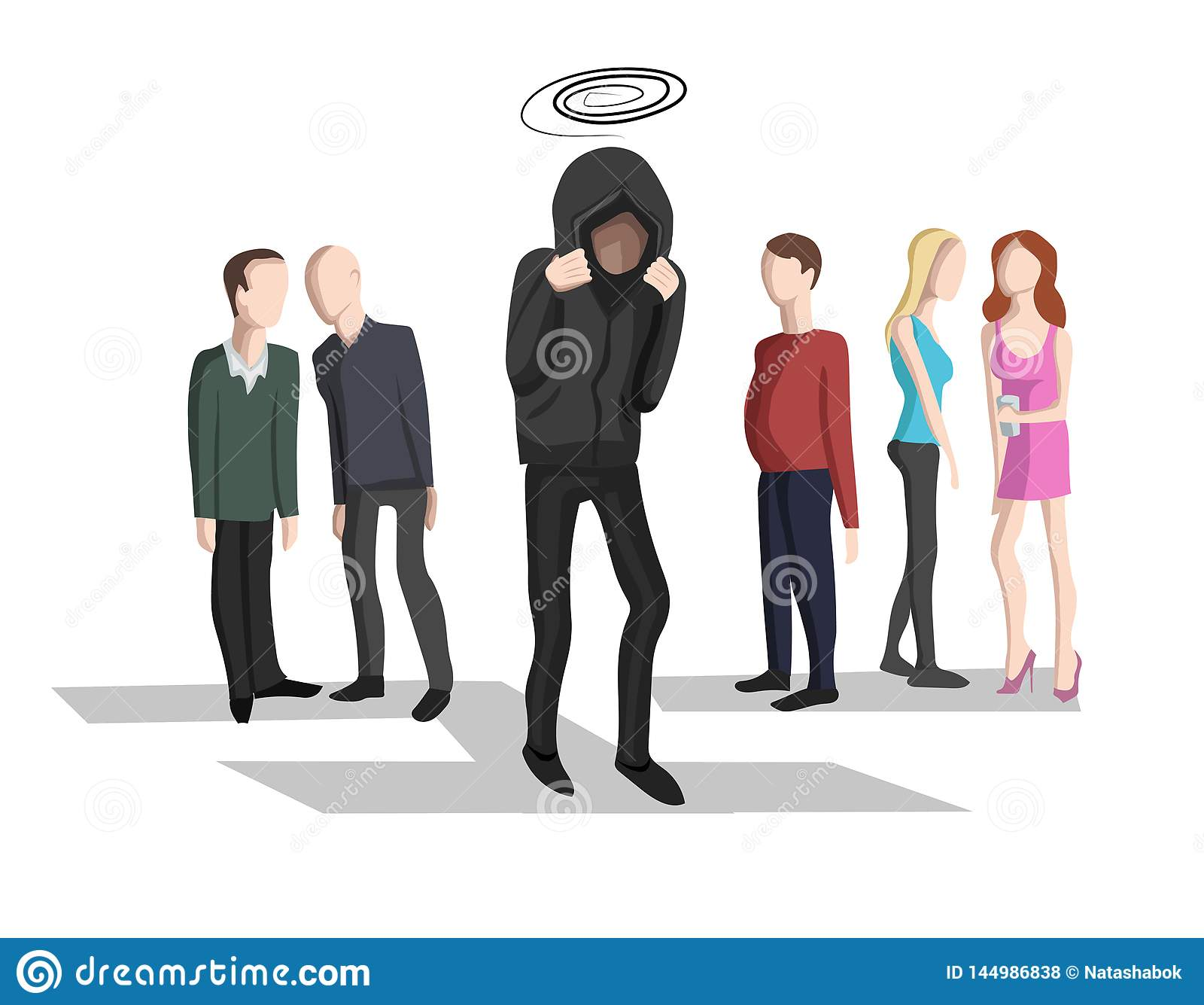 Social Anxiety Social Phobia Stock Vector