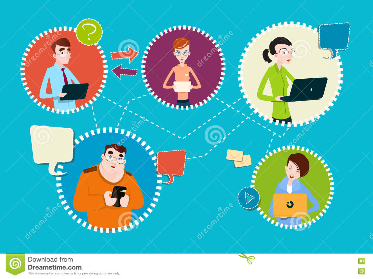 Social Media Communication People Group Internet Network Connection Stock Vector - Illustration of network. concept: 78276360