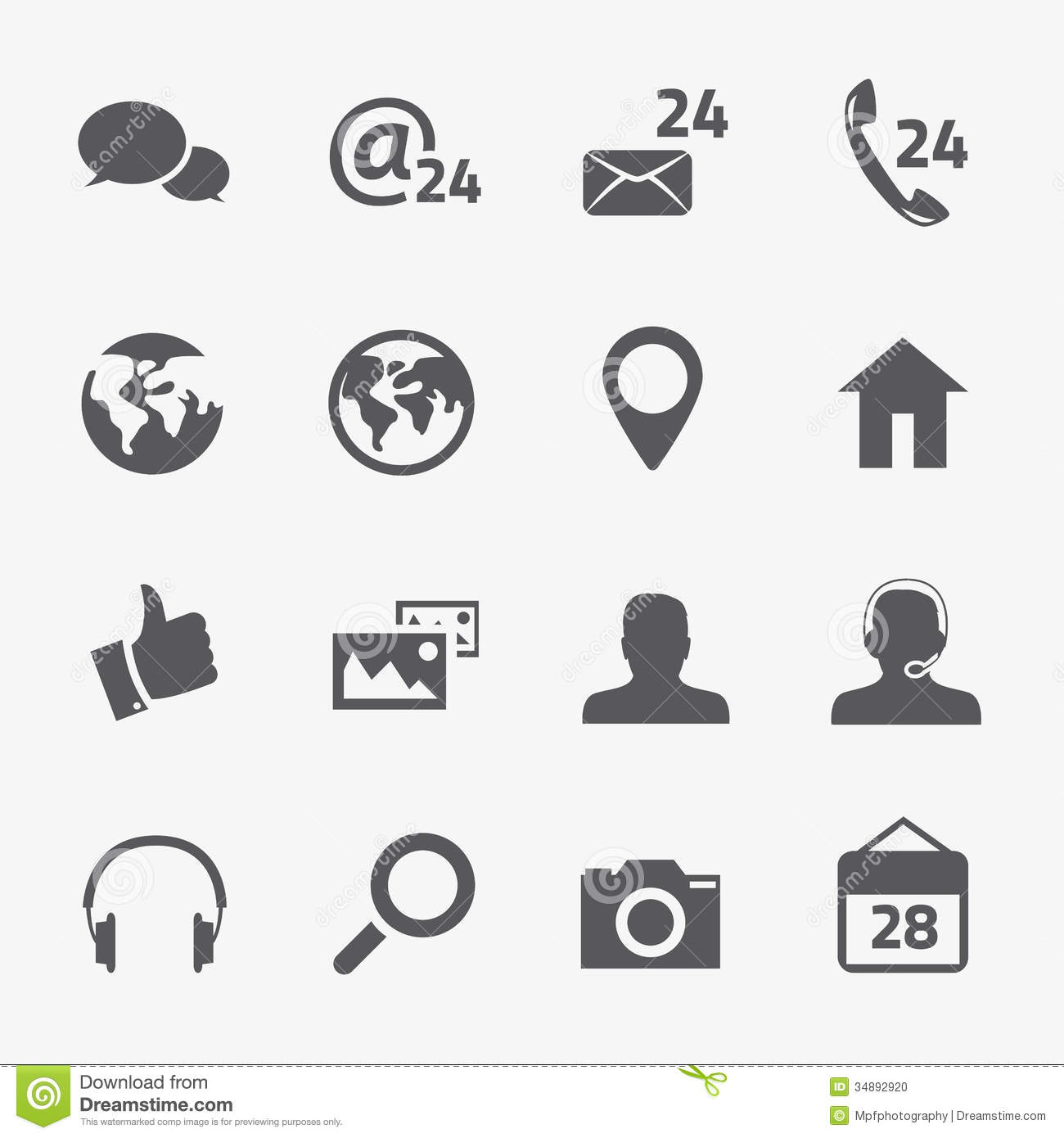 Social Media And Connection Vector Icons Set Stock Photo