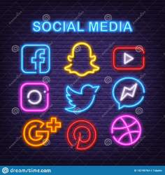 neon social icons background glow dark vector preview