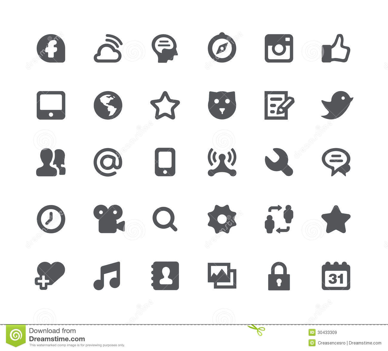 Social Media Network Icon Set Stock Illustration