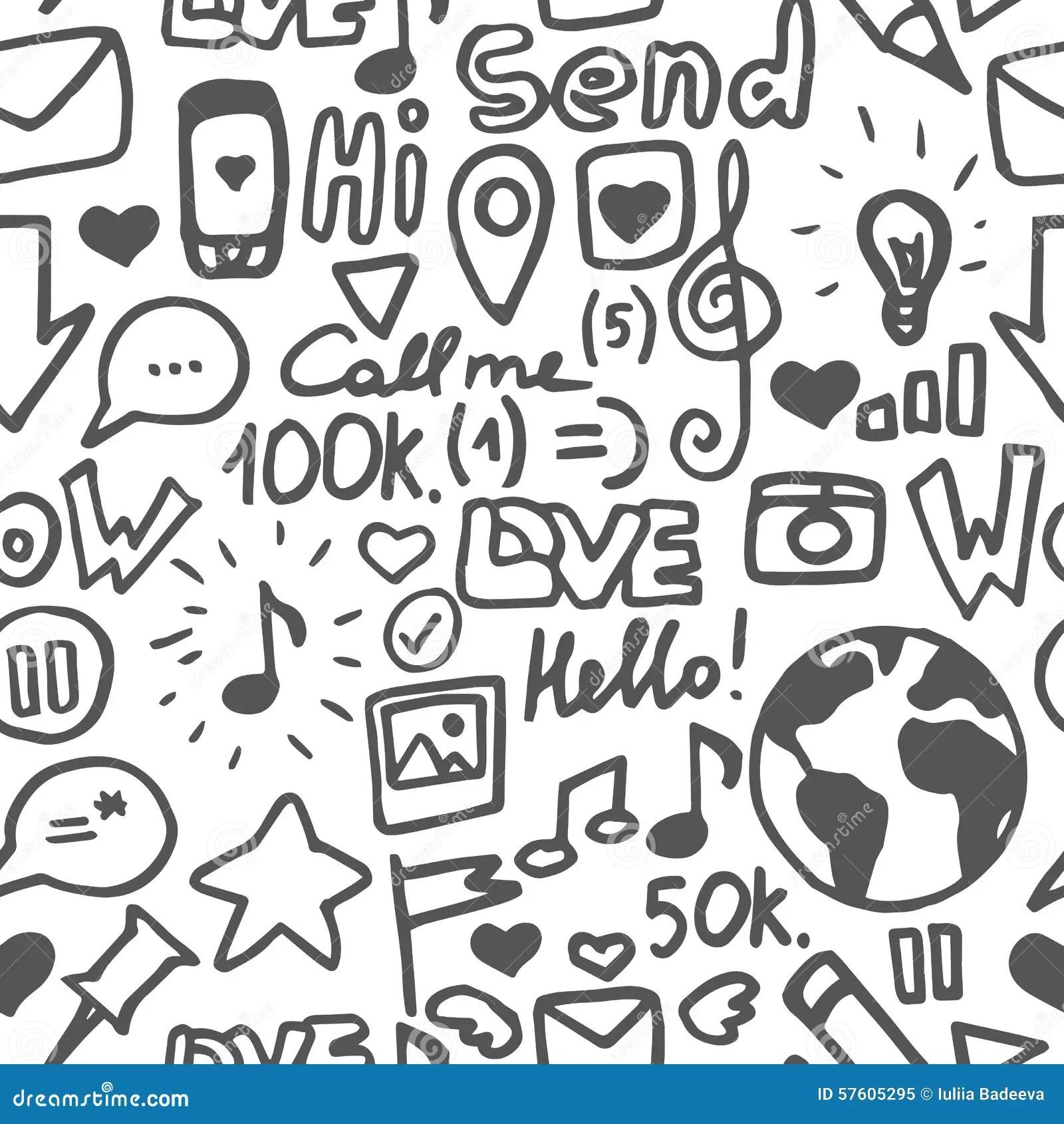 Social Media White Pattern Stock Vector Illustration Of