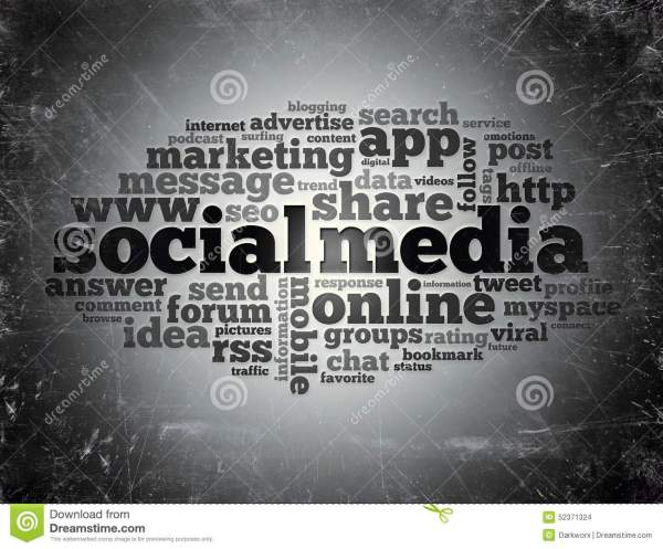 Social Media Word Cloud Typography Stock Illustration