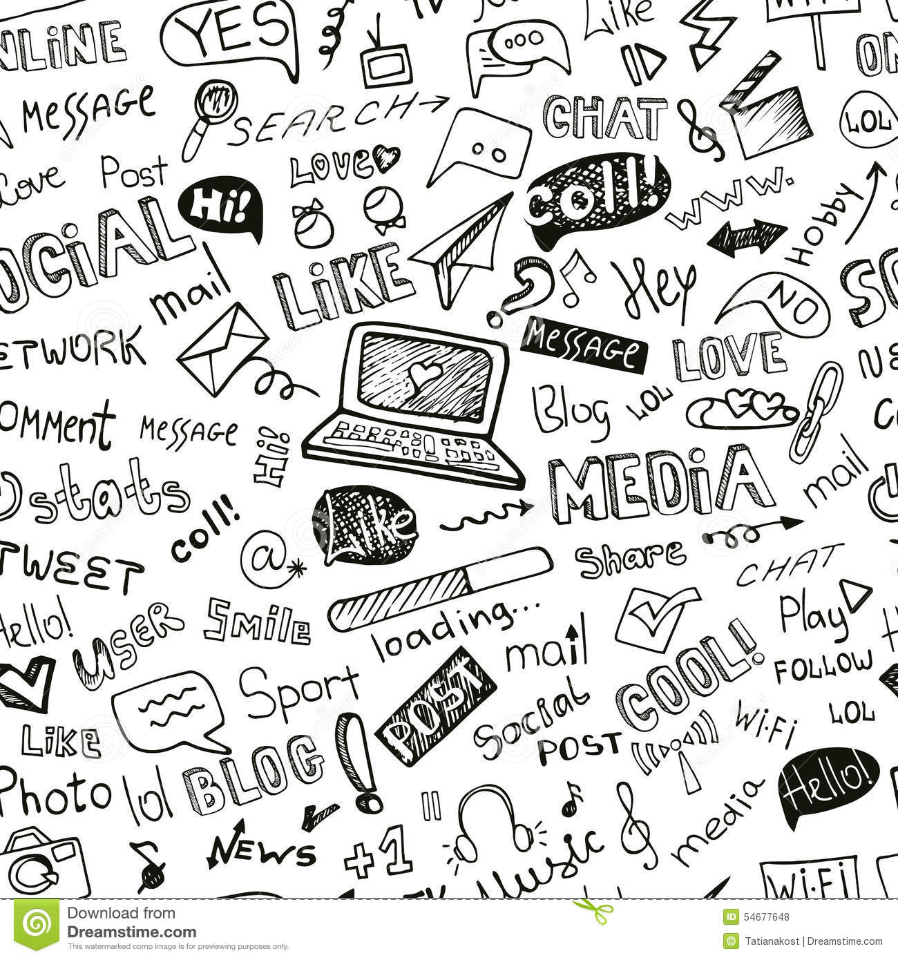 Social Media Word,Icon Seamless Pattern.Doodle Stock