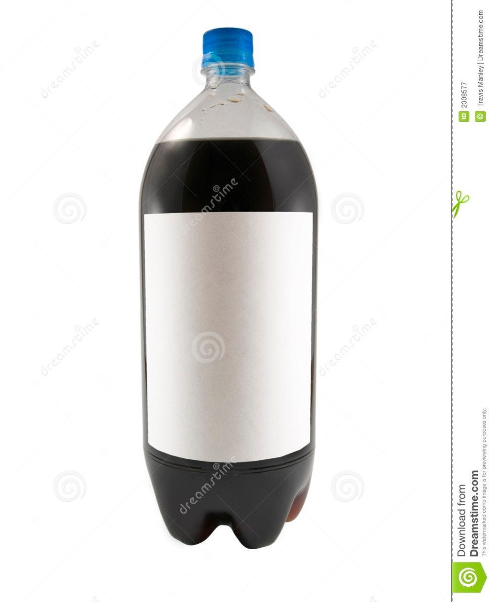 medium resolution of a close up on a soda bottle isolated on a white background with a blank label