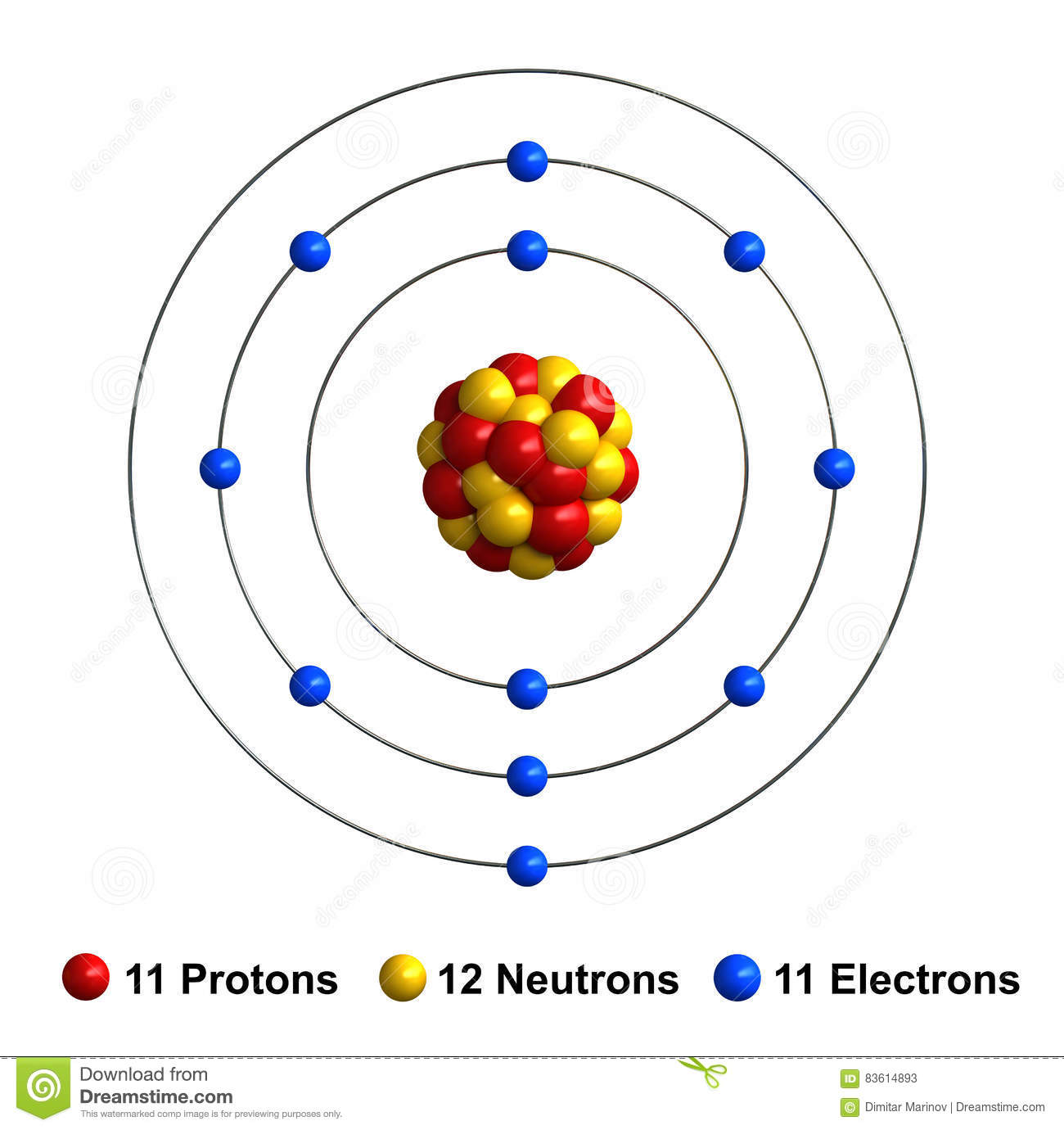 hight resolution of sodium stock illustration illustration of rendering 83614893 sodium protons sodium neutron diagram