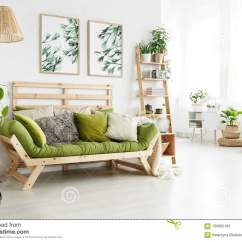 Green Cushions Living Room Carpet Ideas Sofa With In Interior Stock Photo Image Of Ladder Lamp Wooden Many Standing Bright Botanic Posters