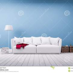 Red Couch Living Room Photos Ideas For Wall Pictures Sofa And Floor Lamp At Blue Stock Photo - Image: 53863415