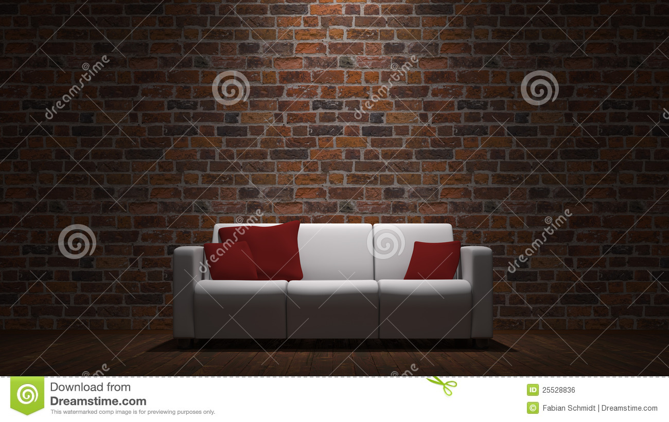 Sofa In Front Of Brick Wall Royalty Free Stock Image  Image 25528836