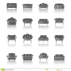 Chair Design Icons Camping Table And Chairs Sofa Icon Black Stock Vector Image 44536852