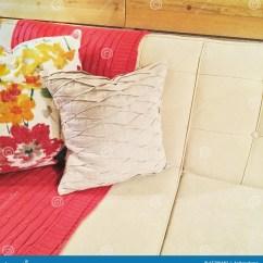 Pink Sofa Throw Polaris Set With And Cushions Stock Image