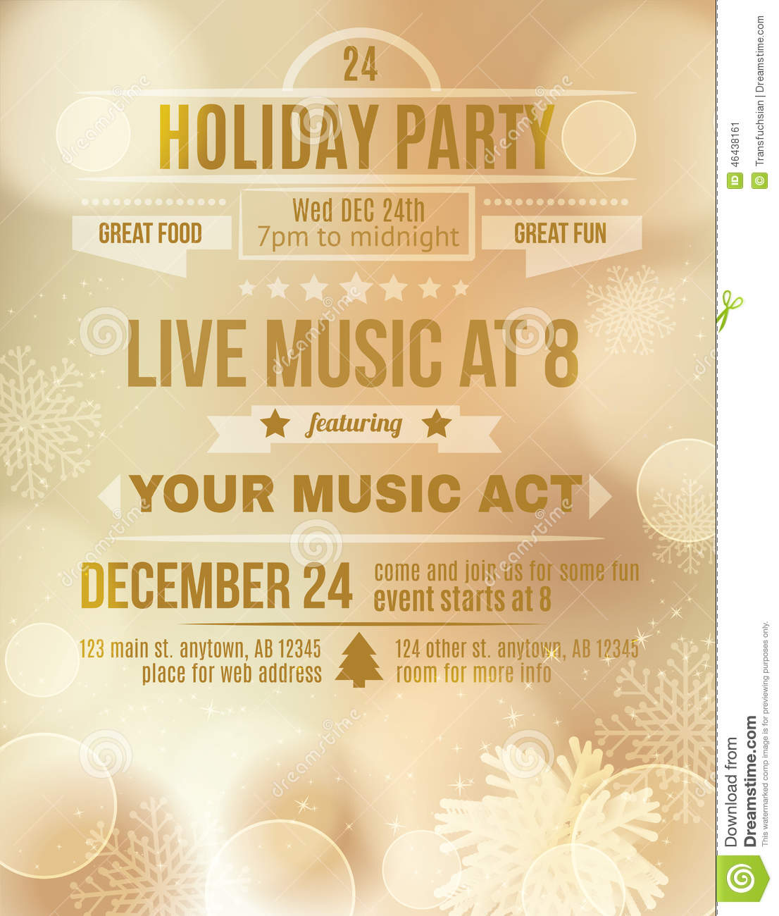 Soft Gold Holiday Party Invitation Flyer Stock Vector - Illustration ...
