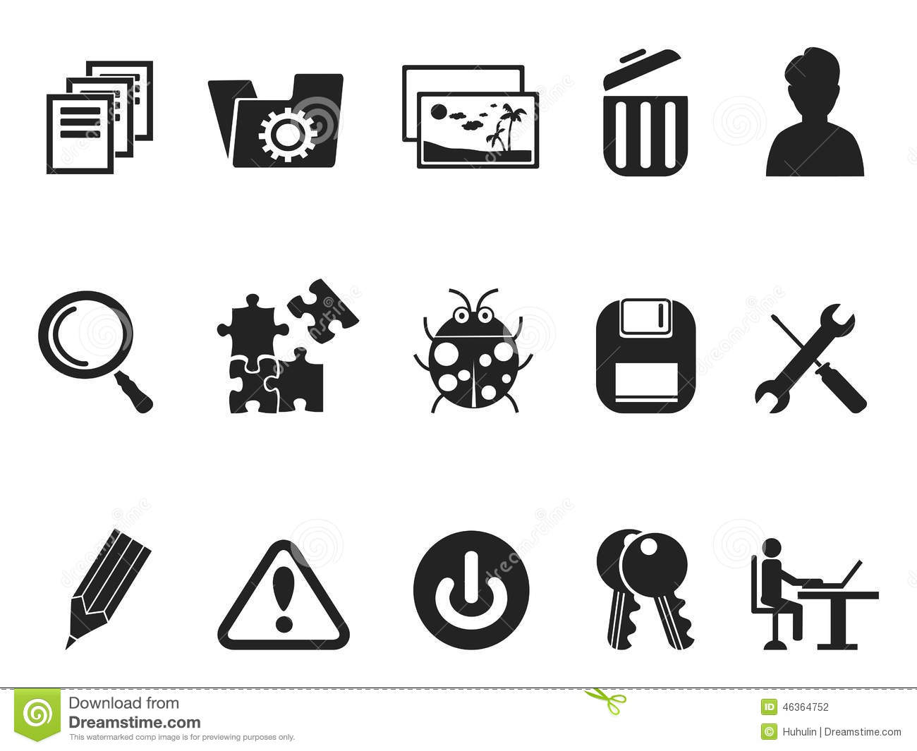 Software And IT Program Developers Icon Set Stock Vector