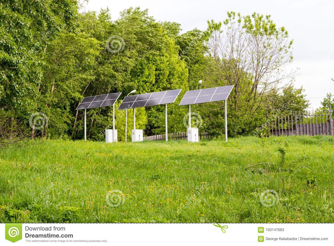 https www dreamstime com solar battery powers electric lamp park array track lighting image103147683