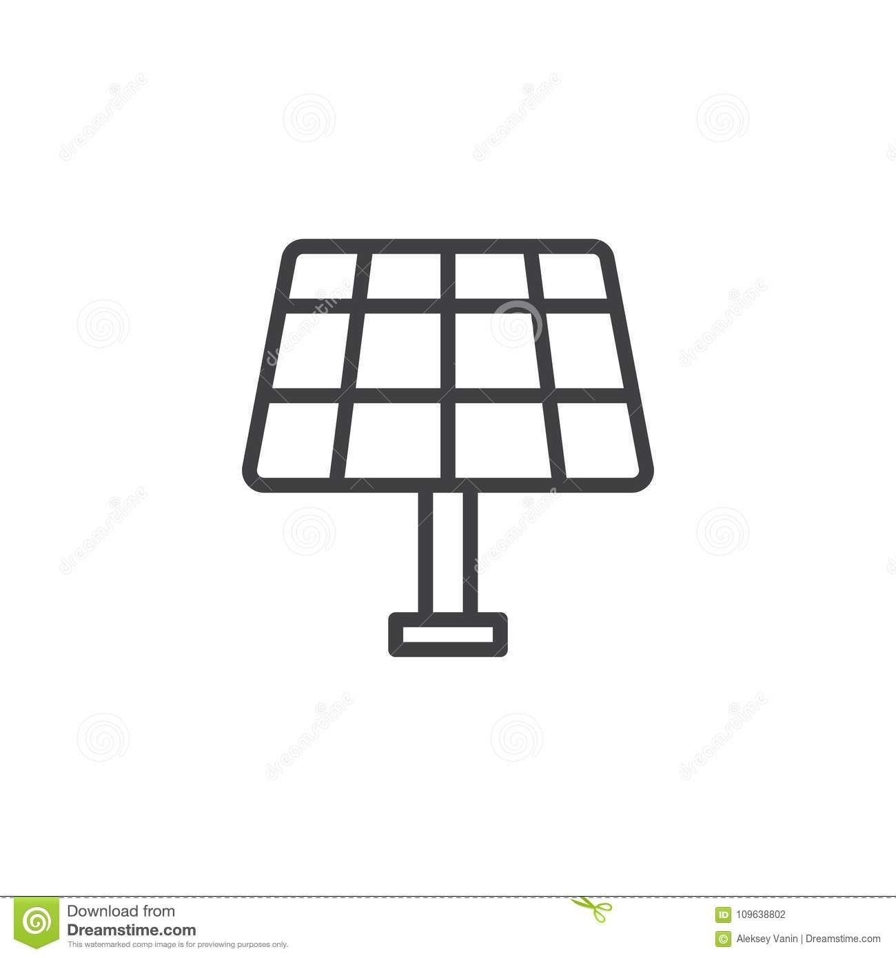 Solar Panel Line Icon Stock Vector Illustration Of Cell