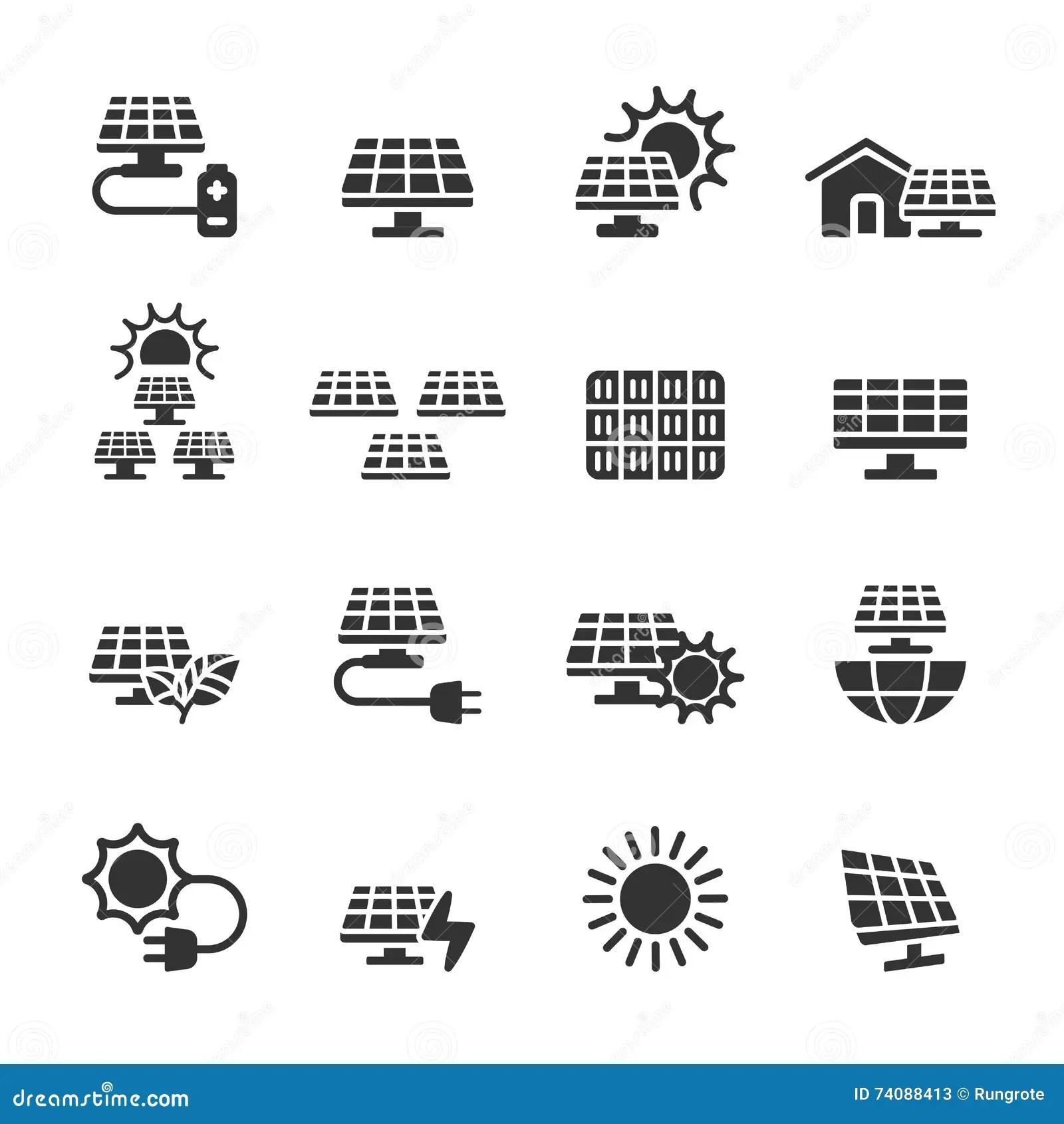 Solar Power Icon Set Vector Eps10 Stock Vector