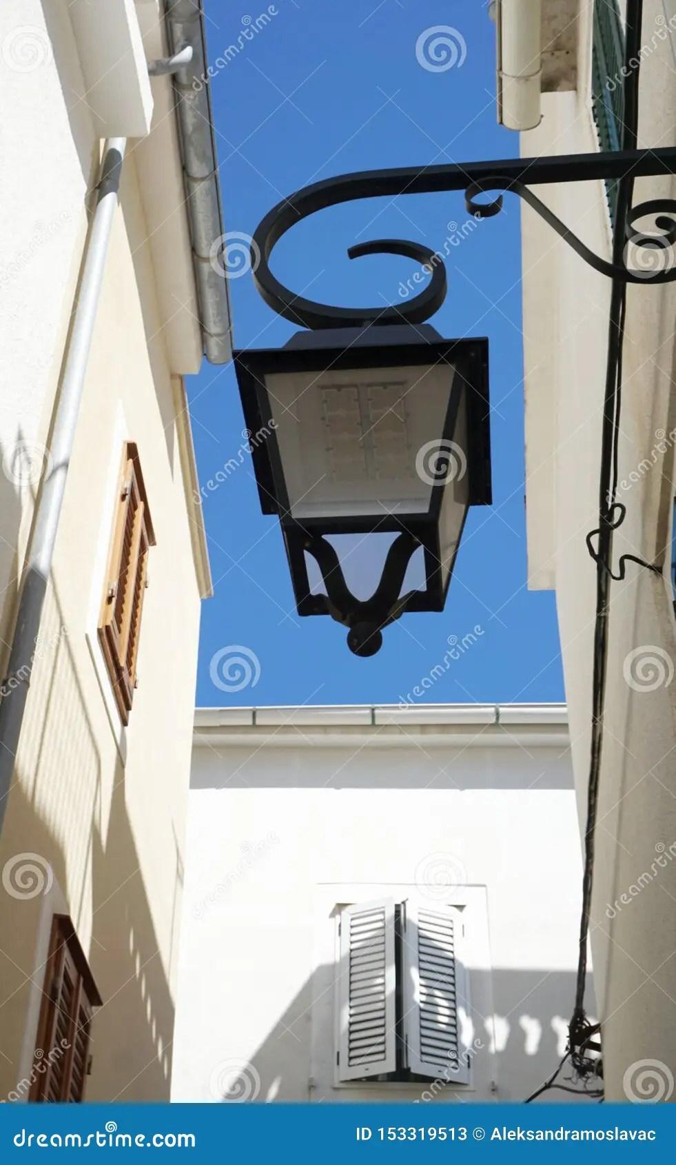 https www dreamstime com solar street lamp designed like old vintage rustic mediterranean style facade view below retro image153319513
